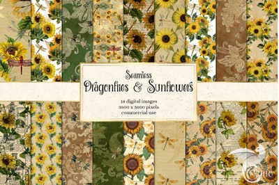 Dragonflies and Sunflowers Digital Paper