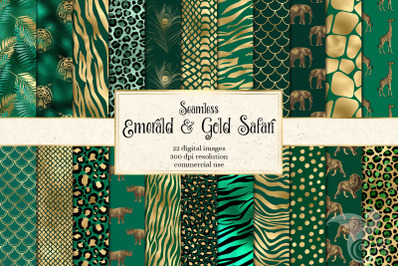 Emerald and Gold Safari Digital Paper