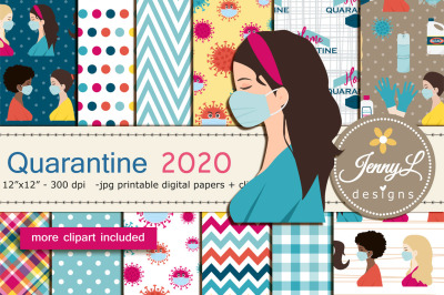 Quarantine Digital Papers and Disinfectant Clipart