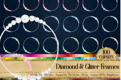 100 Diamond & Glitter Circle Frames Royal Victorian Clip arts