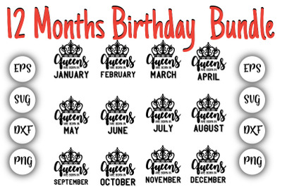 12 Months Birthday Bundle SVG.DXF,EPS,PNG