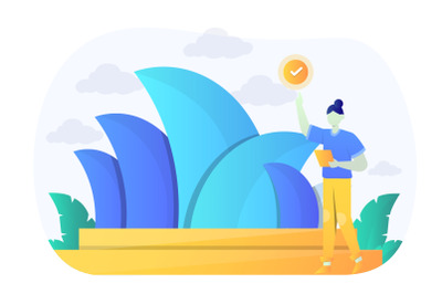 Monuments of Australia Flat Design