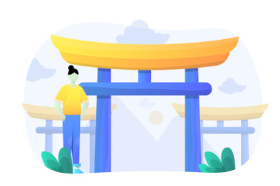 Itsukushima Shrine Flat Design