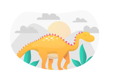 Dinosaur Flat Illustration