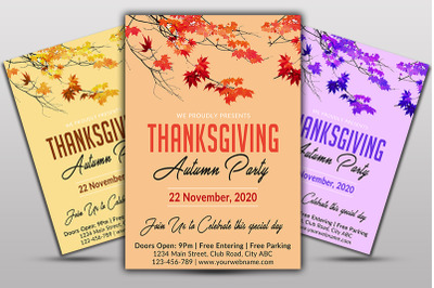 Thanks Giving Autumn Party Flyer