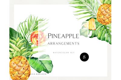Watercolor pineapple clipart.  Tropical bouquet arrangements