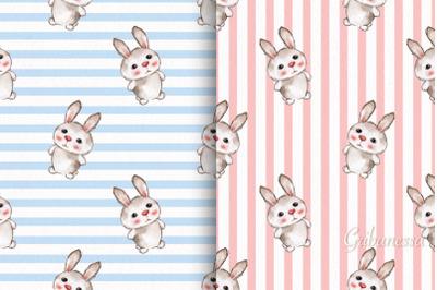 Cute rabbits. 2 seamless striped patterns