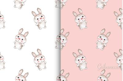 Cute rabbits. 2 seamless patterns