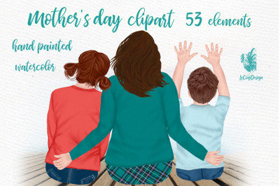 Mother and kids Mother's day clipart Family clipart Mom Png