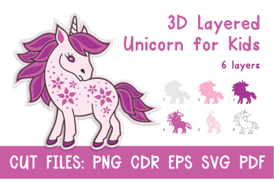 3D Layered Unicorn for Kids. Cut files