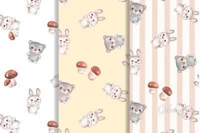 Cute animals. 3 seamless patterns