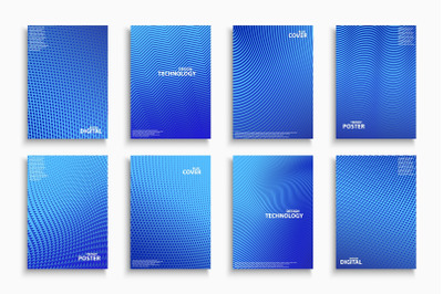 Blue halftone digital covers, posters, brochures