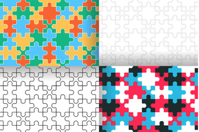 Seamless pattern with Puzzle