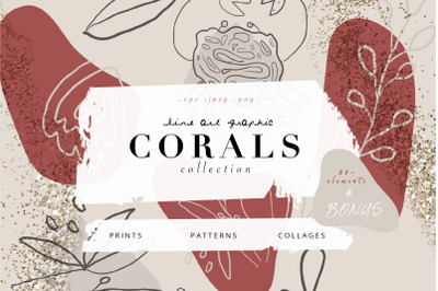 Corals - line art graphic collection