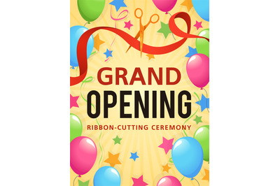Grand opening. Presentation event, invitation card, opening store cere