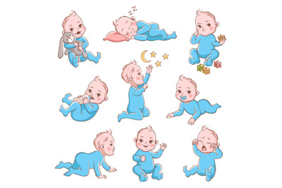 Cute baby boy. Infant in diaper with different poses and emotions happ