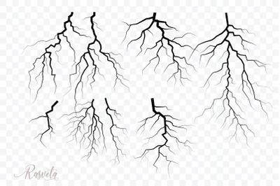 Set Of Thunder Lightning Silhouettes/1