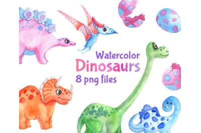 Watercolor Dinosaur Birthday Party Clipart Cute Dinosaurs