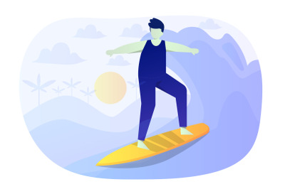 Surfing Flat Illustration