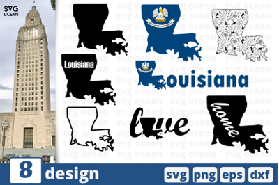8 LOUISIANA svg bundle, map cricut svg
