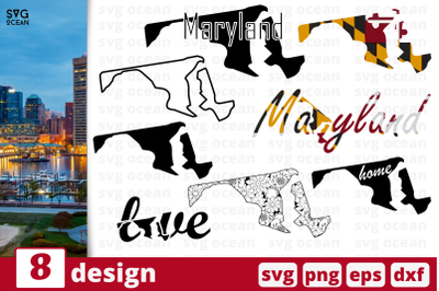 8 MARYLAND svg bundle, map cricut svg