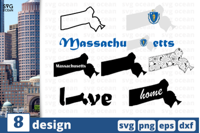 8 MASSACHUSETS svg bundle, map cricut svg