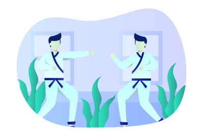 Karate Flat Illustration