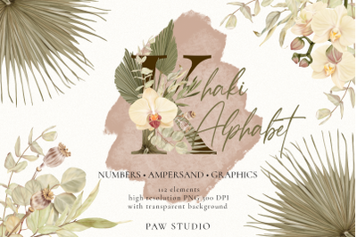 Boho Alphabet Numbers Graphics With Orchid, Dried Leaves