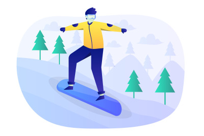 Snowboarding Flat Illustration