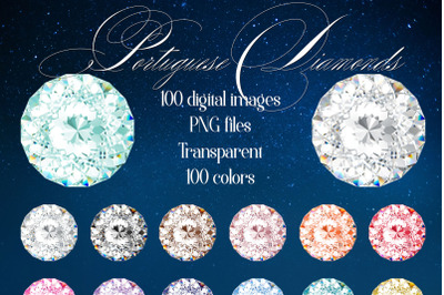 100 Portuguese Realistic Wedding Diamond PNG Digital Images