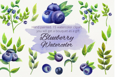 Blueberry. Watercolor clipart