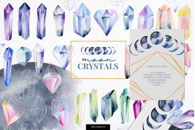Moon crystals. Watercolor clipart.