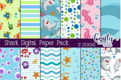 Baby Shark Digital Paper Pack,  Colorful Fish Paper, Scrapbook Paper