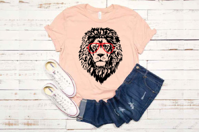 Lion Head whit Aviator Glasses SVG