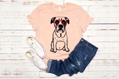 Boxer whit Aviator Glasses SVG Dog Bulldog puppy 1774s