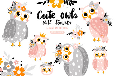 Cute owls with flowers.