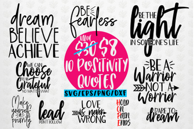 Positivity Quote Bundle SVG EPS DXF PNG