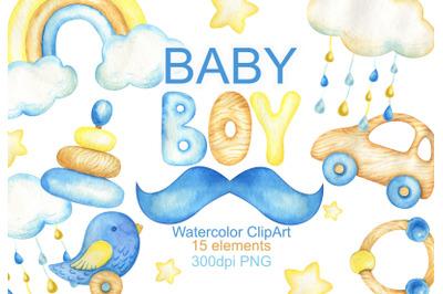 Watercolor baby boy clipart baby shower clip art invitation