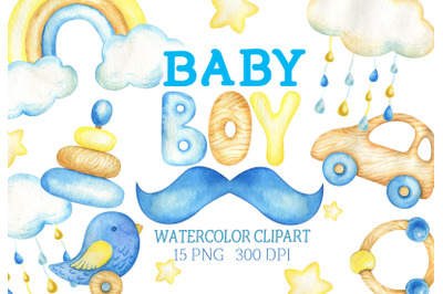 Watercolor baby boy clipart baby shower clip art invitation