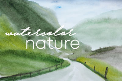 watercolor nature and landscape road and mountain