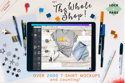 WOLE SHOP - Lock & Page T-Shirt Mockup Studio - LIFETIME Access!