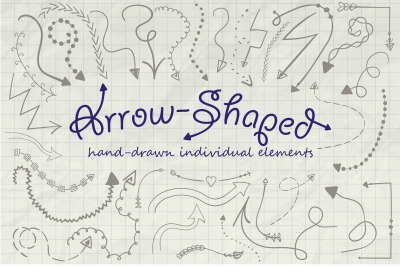 Hand-drawn Doodle Style Arrows. Individual Arrow Shaped Elements.