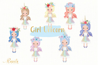 Girl With A Unicorn Horn And With A Floral Wreath In A Rainbow Dress