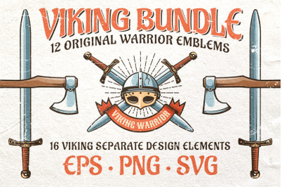 Viking Warrior Logo Retro Bundle