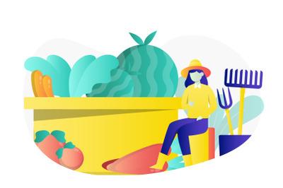 Farming Concept Flat Illustration