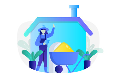 Farmer Concept Flat Illustration