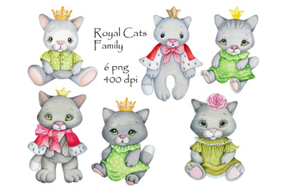 Royal Cats' Family. Watercolor fun characters.