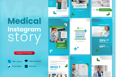 Medical Social Media Story Template with blue color theme