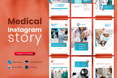 Medical Social Media Story Template with red color theme