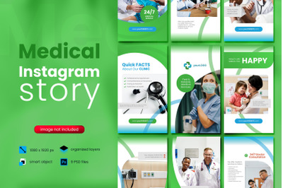 Medical Social Media Story Template with green color theme